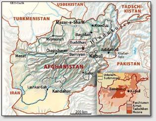 Карта нахождения Бамианской долины в Афганистане.