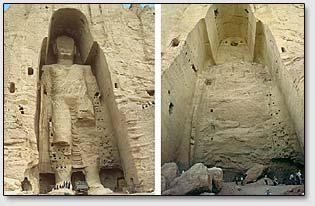 Самая высокая Бамианская статуя до и после взрыва.