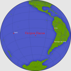Местоположение острова Пасхи в Тихом океане.