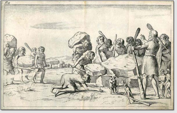 Мегалитические постройки на севере Европы строились по мнению Йохана Пикарда [Johan Picardt] великанами, жившими в доисторические времена.