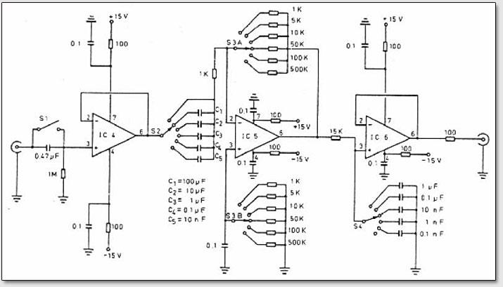 Рис. 3. Схема линейного полосно-пропускающего фильтра аппаратуры для измерения биоэлектрических сигналов растений.