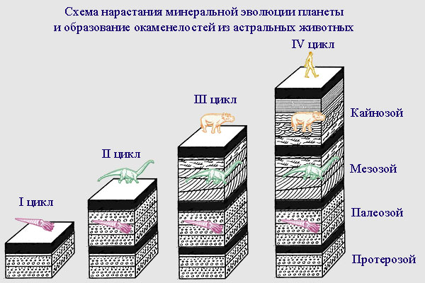 Схема нарастания минеральной эволюции и образование окаменелостей из астральных форм